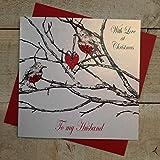 White Cotton Cards 'con Amor en Navidad para mi Marido Robin Hecho a Mano Tarjeta de Navidad
