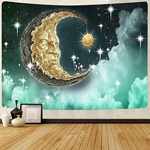 WERT Sol Luna Mandala Tapiz Colgante de Pared Celestial Tapiz de Pared Hippie Alfombras de Pared Decoración de Dormitorio Tapiz psicodélico A2 200x150cm