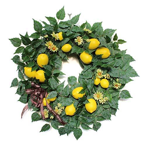 æ— Corona de limón artificial de imitación de 55,8 cm, flores de boda con hojas de eucalipto, corona de frutas de primavera para pared, ventana, granja, fiesta, decoración del hogar