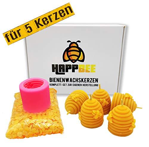 HappBee Set zum Bienenwachskerzen gießen komplett mit Silikonform, Dochten und 200 g reinem natürlichen Marken Bienenwachs zum 5 selbstgemachte Kerzen basteln auch als tolles Geschenk