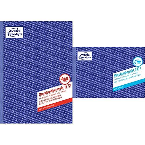 AVERY Zweckform 1773 Stunden-Nachweis (A4, selbstdurchschreibend, 2x40 Blatt) weiß/gelb & 1311 Wochenbericht (A5 quer, mit 2 Blatt Blaupapier, von Rechtsexperten geprüft, 2x50 Blatt) weiß/gelb