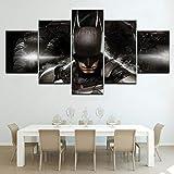ZDDBD Cuadro de Lienzo de decoración de Pared, póster Modular de Batman, 5 Piezas de Arte, decoración del hogar, Lienzo Impreso en HD, Imagen de Arte