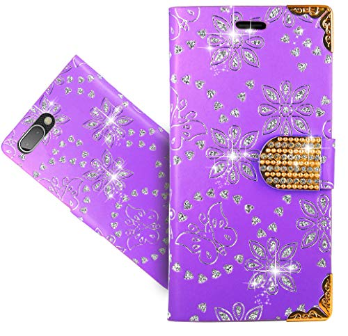 BlackBerry Key 2 / Key Two Handy Tasche, FoneExpert® Wallet Hülle Cover Bling Diamond Hüllen Etui Hülle Ledertasche Lederhülle Schutzhülle Für BlackBerry Key 2 / Key Two