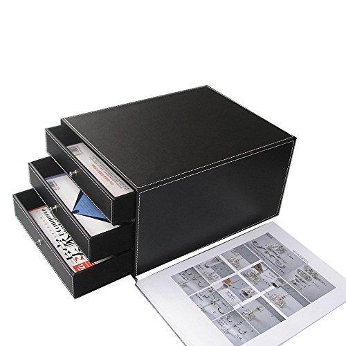 KINGFOM - Cajón Archivador de Oficina con 3 cajones, color negro
