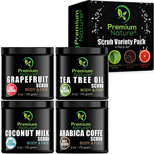 Körperpeeling Geschenk Set Body Scrub - Premium Nature Körper Scrubs Tea Tree Oil Grapefruit Coconut Milk & Coffee Peeling mit Totes Meer Salz Gesichtspeeling Handpeeling Gesicht & Sauna Meersalz