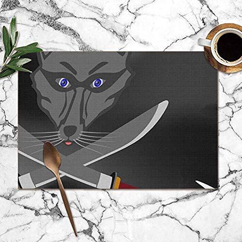Abows-Shop Waschbär gekreuzte Säbel auf schwarzer Flagge abstrakte Tier Tischsets für Esstisch, waschbare Tischsets Hitzebeständig (12X18 Zoll) 6er-Set