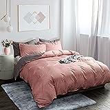 Fityou Set di biancheria da letto copripiumino in poliestere rosa, 3 pezzi, copripiumino 200 x 200 cm con cerniera + 2 federe 50 x 80 cm, morbido e traspirante