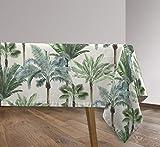 Vilber, Mantel de Tela Rectangular, resinado, con Tratamiento Antimanchas, Impermeable, Estampado Tropical. AZOR Color Verde