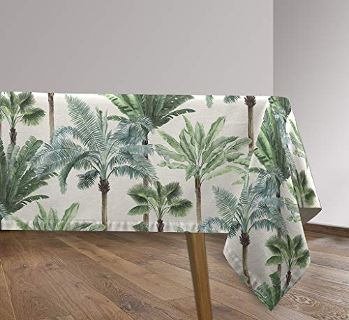 Vilber, Mantel de Tela Rectangular, resinado, con Tratamiento Antimanchas, Impermeable, Estampado Tropical. AZOR Color Verde