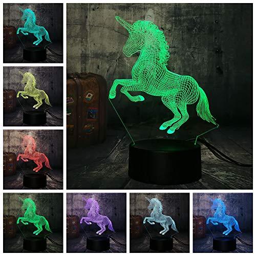 Visuelle Licht Schöne Einhorn 3D Led Nachtlicht Schreibtischlampe Romantische Geschenk 7 Farbwechsel Room Decor Lustre Urlaub Freundin Kinder Spielzeug Touch Schalter