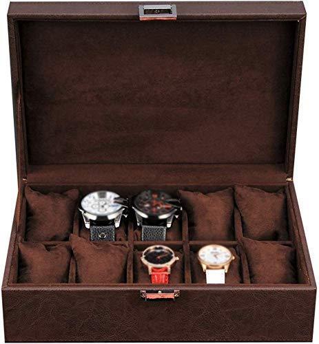 Accessori per la casa Scatola per orologi Scatola per espositori per gioielli in ecopelle a 10 slot Organizer con 10 cuscini rimovibili per riporre i braccialetti Vassoio per collezioni di braccial