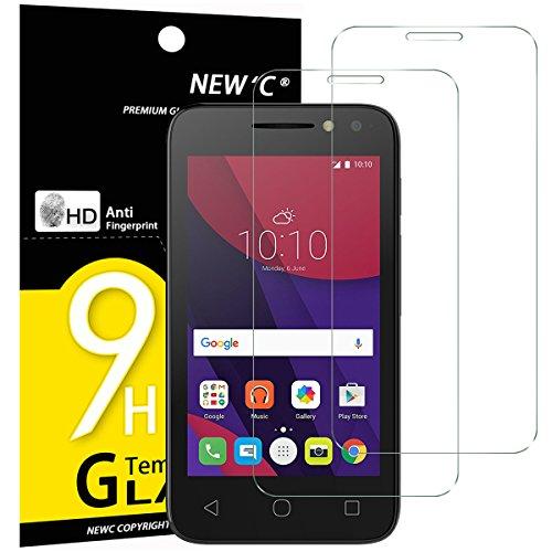 NEW'C 2 Stück, Schutzfolie Panzerglas für Alcatel One Touch Pixi 4 (4.0), Frei von Kratzern, 9H Festigkeit, HD Bildschirmschutzfolie, 0.33mm Ultra-klar, Ultrawiderstandsfähig