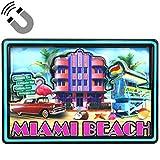 Imán de doble capa de MDF de Miami Beach Hotels, 5,7 x 8,9 cm