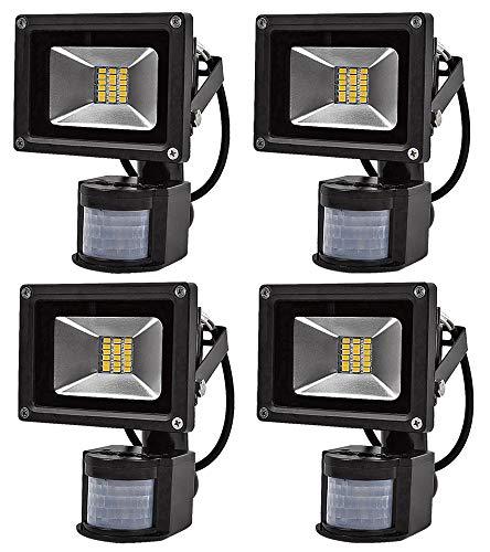 Leetop 4X Interior y Exterior 20W LED Focos Blanco Cálido con Sensor de Movimiento,con Fijación Colgar y Kit de Tornillos,Waterproof IP65