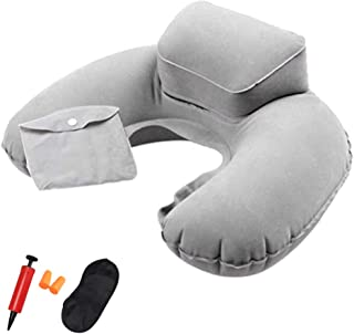 GLBSW Ultralight Travel Inflatable Pillow Neck Support Pillows Portable Air Pillow with inflator/Eye Mask/Earbuds Suitable...