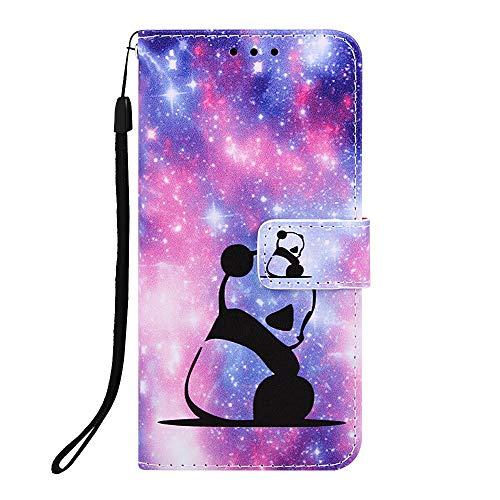 Miagon pour iPhone XR Housse en PU Cuir,Coque Etui Portefeuille à Rabat Clapet Support Fermeture Magnétique Stand Case Cover,Mignonne Panda