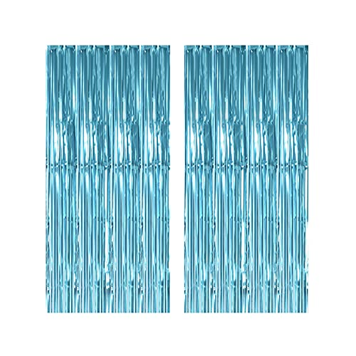Teal Metallic Tinsel Foil Fringe Curtains 2Packs 3ftx8ft Tinsel Door Curtains Photo Booth Props for Birthday Fringe Curtains for Party Wedding, Graduation, Christmas Decorations (Teal)
