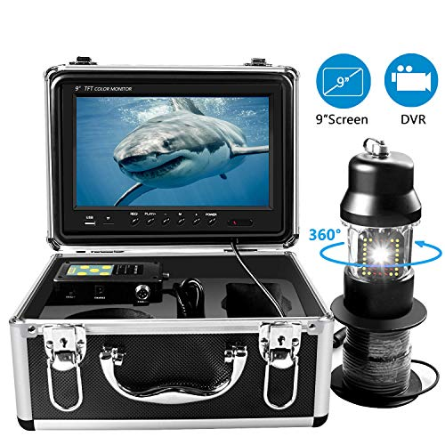 Cámara de Pesca Submarina, Cámara de Video buscador de Peces Giratoria de 360° con Grabador DVR, Sistema de Vida Marina a Prueba de Agua IP68 y Monitor de TVL 1000HD a Color de 9