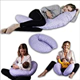 Pregnancy Pillow Adjustable Loft Maternity Pillow Multifunctional 5 in 1 Nursing Breastfeeding Pillow C Shape Full Body Pillow Purple BBL Baby Nest Baby Lounger