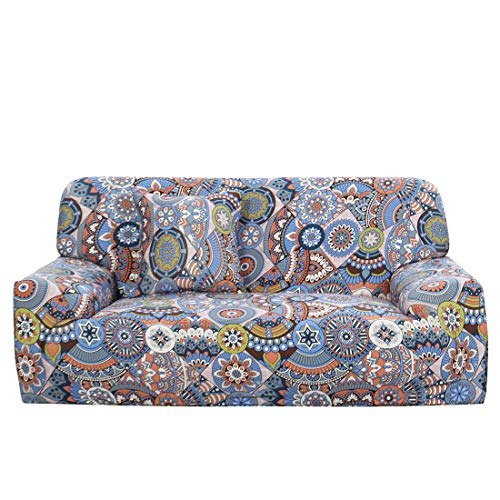 uxcell Stretch Sofa Cover Printed Couch Slipcover for Sofas Loveseat Armchair Universal Elastic Furniture Protector with One Pillowcase Large