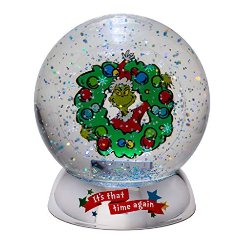 the whos Department 56 Dr. Seuss The Grinch It's That Time Again Waterdazzler Lit Waterball, 4.5 Inch, Multicolor