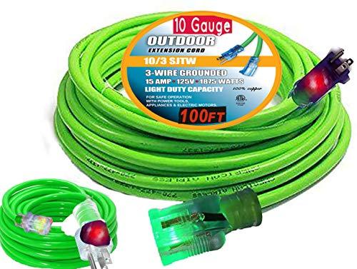 100 ft 10 Gauge Extension Cords 10 3 Contractor Grade 100' 10 Gauge Power Extension Cord 10/3 Plug,Extension Cord with Lighted Ends (100 ft 10 Gauge, Green)