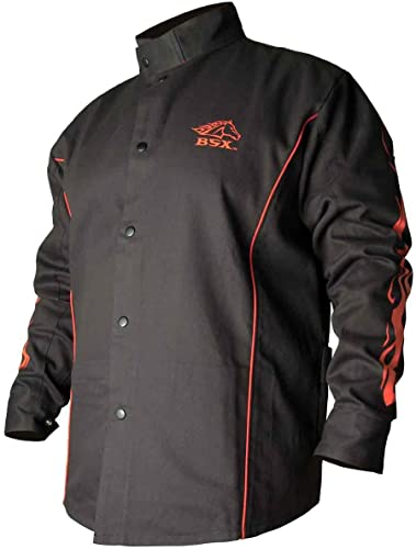 popular BSX outlet sale Flame-Resistant Welding Jacket - online sale Black with Red Flames, Size 3X-Large outlet sale
