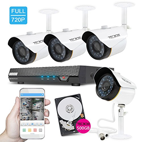 TECBOX Security Camera System 4 Channel 720P AHD Home Video Surveillance Equipment DVR 500GB Hard Drive Preinstalled with 4 HD 1.3MP Waterproof Night Vision Indoor Outdoor CCTV System