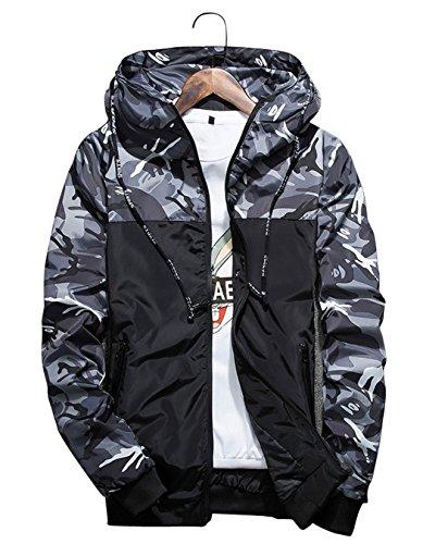 shepretty Herren Jacke Camouflage Hoodie Langarm Outwear Sportswear Reißverschluss Windbreake,Grau,L