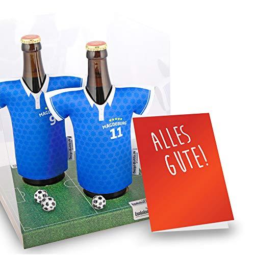 Der Trikotkühler | Das Männergeschenk für MAGDEBURG-Fans | Langlebige Geschenkidee Ehe-Mann Freund Vater Geburtstag | Bier-Flaschenkühler by Ligakakao