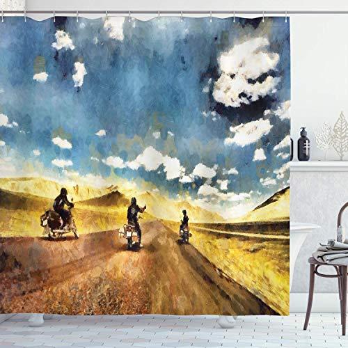 EdCott Bandkollegen, die in einem ländlichen Dorf Motorrad Fahren, mit Kunststoffen, Badezimmerdekoration, Hakenschlupf, dekorativem Raum, leicht zu waschen, Duschvorhang, grau-blau