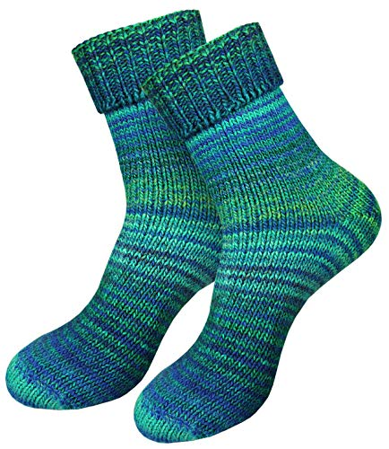 dunaro 2 Paar gestrickte Norweger-Socken Wollsocken Wintersocken kuschelig warm Damen Herren (2 Paar / 43-46 Petrol)