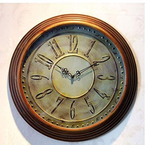 Scra AC Reloj de cuarzo de metal para decoración de pared de 44 x 44 cm, diseño retro de país, color marrón