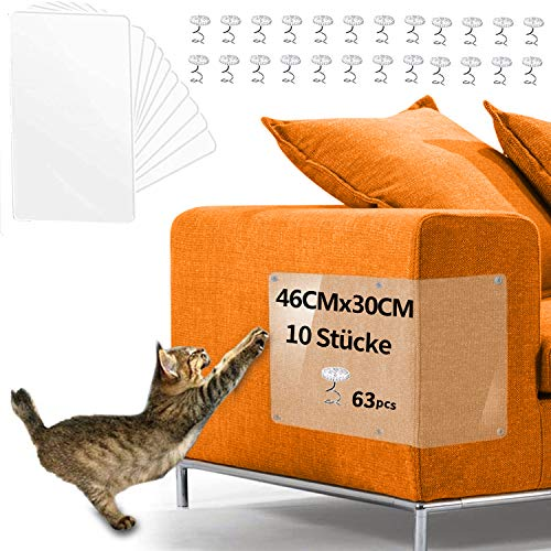 Anti Kratz Möbelschutz,YMCCOOLKratzschutz Set for Katze Hunde(45*30CM), Katzen Couch Protection Anti Kratzer Katzen Transparent Katze Klebeband Couch Kratzschutz für Sofa,Tür,Möbel,Wand. (10)