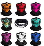 JAHEMU Máscara de Calavera Skull Mask Pasamontañas de Calavera Bandana Diadema Elástico Bufanda Respirable Moto Bici Máscara para Hombres y Mujeres Esquí Ciclismo Escalada 8 piezas