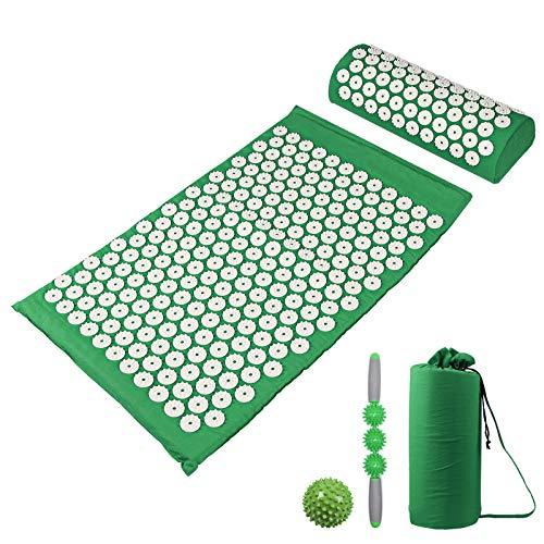 Massage Yogamatte Mit Kissen Massagegerät Yogamatte Akupressurmatte Stress abbauen Rückenschmerzen Spiky Akupunkturmatte, Zubehör Massage-Ball händ und massageroller