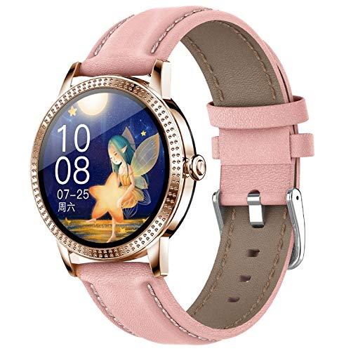 Gigicloud CF18P Smart-Armband mit Touchscreen, wasserdicht, Schrittzähler, Herzfrequenz, Blutdruck, Erinnerung, rosa Ledergürtel
