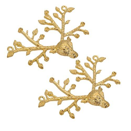 2 colgantes de moda con cabeza de ciervo de cobre para mujer y niña