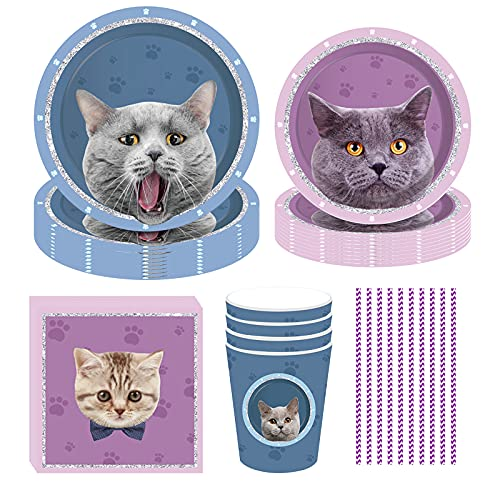 DreamJing 69 Stücke Cat/Katze Party Set Partygeschirr Haustiere - Lila Blau Geburtstag Geschirr Kit - Teller Becher Servietten Stroh für 8 Personen