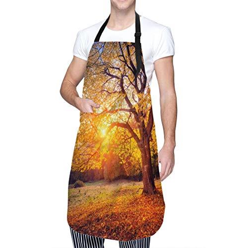 Personalizado Delantal Impermeable,Árbol de otoño Gran árbol de otoño majestuoso derramando hojas descoloridas en el paisaje estacional de la pendiente de la colina,Babero de Cocina con 2 Bolsillos