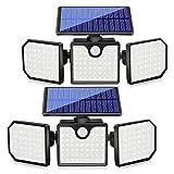 Baalaa Luces solares, 3 luces de sensor de movimiento ajustables de 230 LED para exteriores, focos giratorios de 360 ° para...