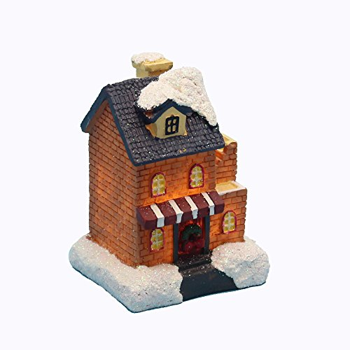 innodept12 Lighting up DIY Christmas Doll Figurine Tiny Resin House Village Building (Small House Store Building)