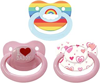 Littletude ABDL Adult Pacifier - Variety 3 Pack - Daddy, Hearts, Rainbow