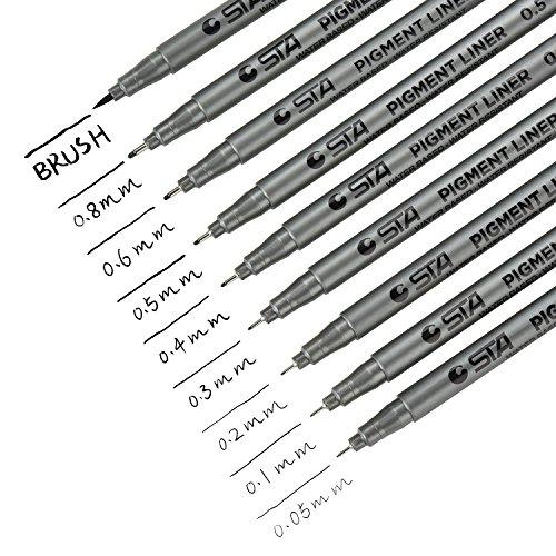DealKits 9 Fineliner Stifte, Wasserdicht Pigmentliner Set(8 Linienbreiten und 1 Brush) Zum Skizzieren, Künstler Illustration, Tchnische Zeichnung, Office-Dokumente - Schwarz