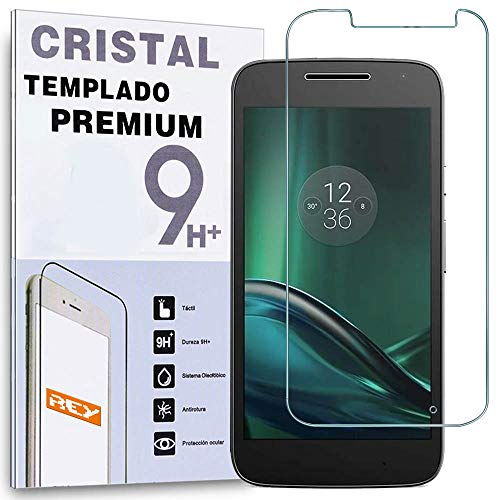 REY Protector de Pantalla para Motorola Moto G4 Play, Cristal Vidrio Templado...