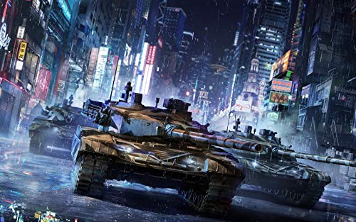 n-a DIY Painting by Numbers Landscape Digital Draw Number Frameless Paint by for Adults Oil Kit Kids Home Decorations Armored Warfare Tanks Artwork Raining Buildings