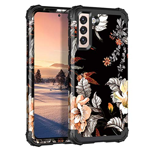 Casetego Compatible with Galaxy S21 5G Case,Floral Three Layer Heavy Duty Sturdy Shockproof Soft TPU+Hard PC Protective Cover Case for Samsung Galaxy S21 5G 6.2 inch,Orange/Black