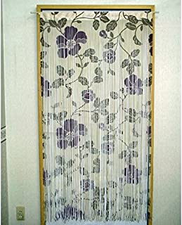 String Noren(Japanese curtain) Purple Flowers from Japan 9807