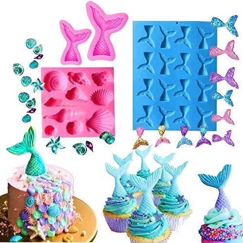 JeVenis Silikonform Meerjungfrauenschwanz, für Kuchendekoration, Schokolade, Süßigkeiten, Seife, Backen Werkzeug für Gelee, Cupcake-Topper (4 Stück)