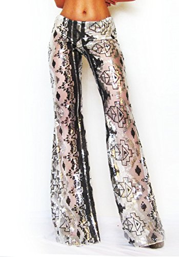 Sequin Aztec Print Bell Bottom Pants/ Rave Pants/ Sequin Boho Pants/ Festival Pants/ EDC Pants/ Dance Pants/ Burning Man Pants/ EDM Pants